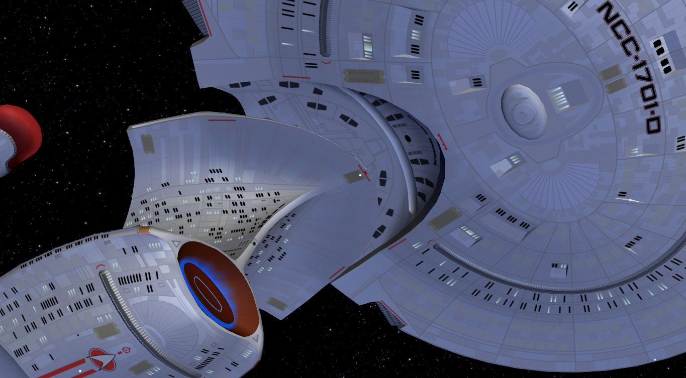 The starship Enterprise separating the saucer from the ship