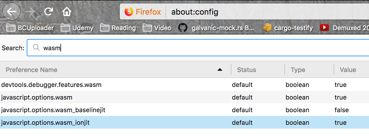 Firefox 57 about:config defaults for Web Assembly